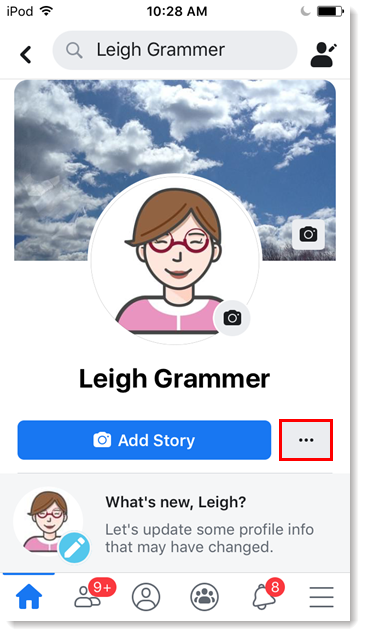Facebook personal profile on mobile device and menu button