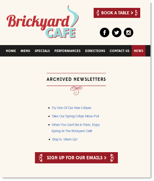 Add the HTML Code for the Embeddable Newsletter Archive