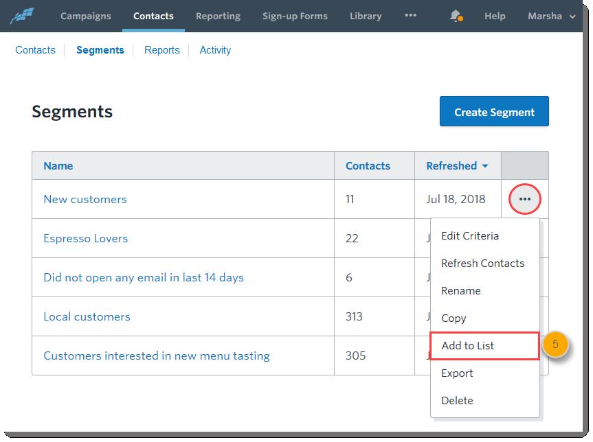 constant contact segment lists