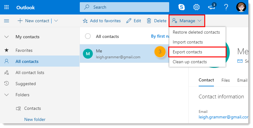 Manually Export Contacts out of Microsoft Outlook to Import