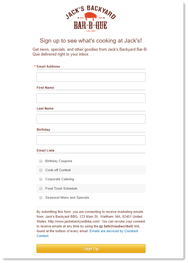 Landing Page Sign-up Form