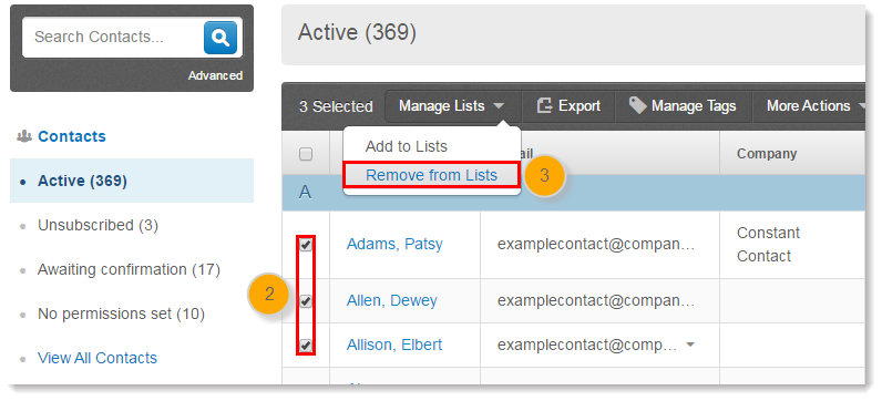 Remove Contacts from Email Lists