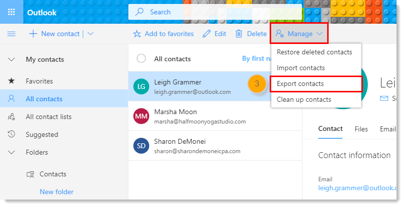 Manually Export Contacts out of Microsoft Outlook to Import into Constant  Contact