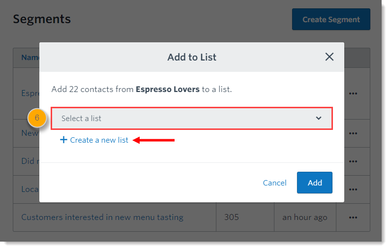 86abd380a7c Select an existing contact list from the drop-down menu or create a new list .