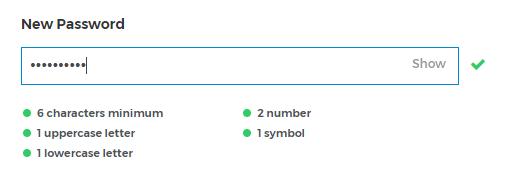 Password fields.