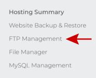 FTP Managment link