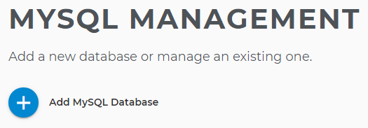 Add new MySQL Database