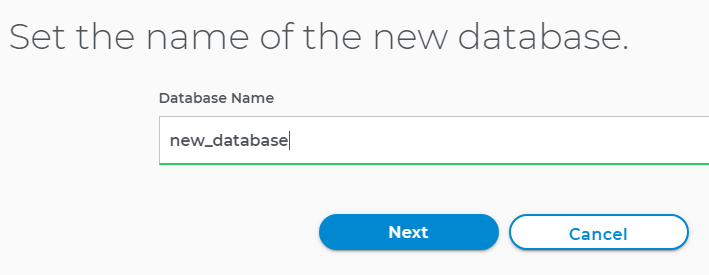 Name the new MySQL Database