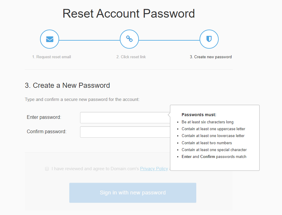 Reset password screen