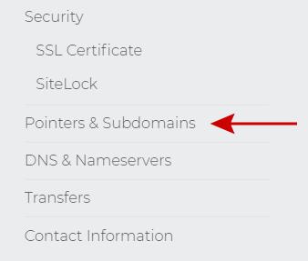 Pointers & Subdomains menu choice