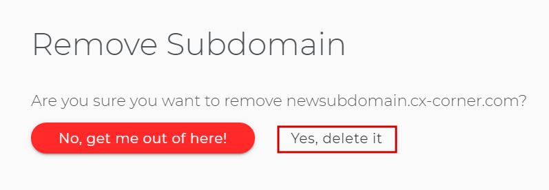 Delete a subdomain