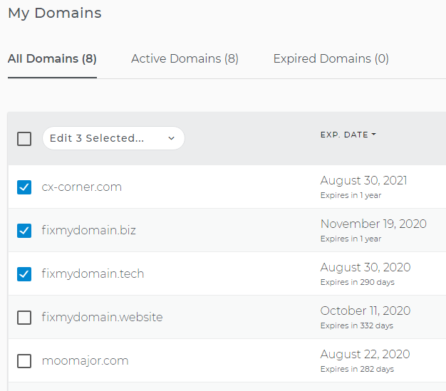 Select domains to edit