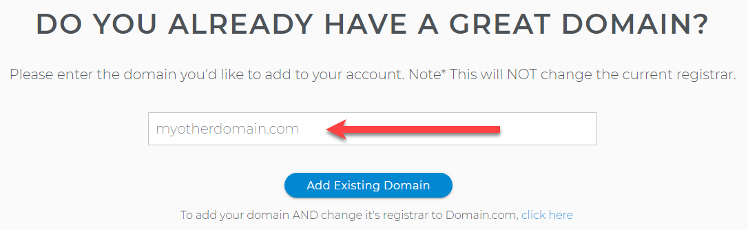 Add Existing Domain