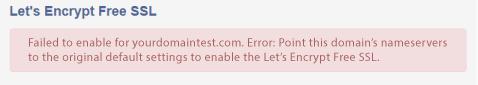 Nameserver error message