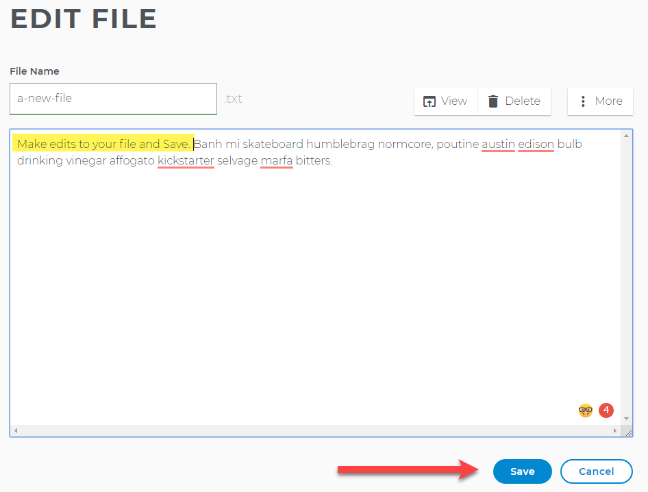 Edit your file and save
