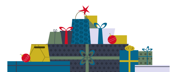 Graphic of lots of wrapped gifts.