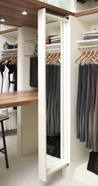 ORG closet with mirror on pull-out flute