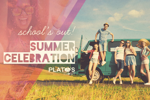 "This image states ""School's Out! Summer Celebration.  The image shows six teens leaning on or standing on VW bus."