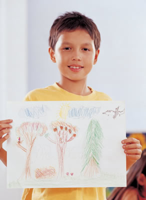 Student holding picture