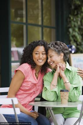 happy older mother & daughter