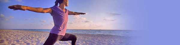yoga warrior beach