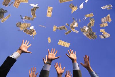 Falling money photo
