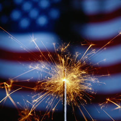 Fireworks and Flag Image